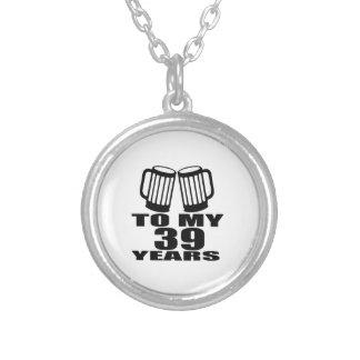 Colar Banhado A Prata Elogios a meus 39 anos do design do aniversário