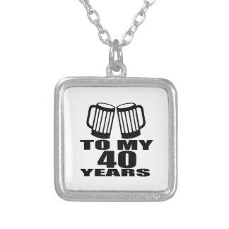 Colar Banhado A Prata Elogios a meus 40 anos do design do aniversário