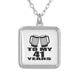 Colar Banhado A Prata Elogios a meus 41 anos do design do aniversário