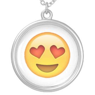 Colar Banhado A Prata Emoji - olhos Coração-Dados forma