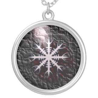 Colar Banhado A Prata Encanto do amuleto de Aegishjalmur viquingue