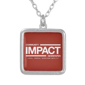 Colar Banhado A Prata Encanto do logotipo do jornal do impacto da