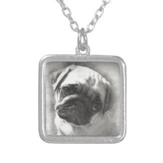 Colar Banhado A Prata Esboço do cão de filhote de cachorro do Pug