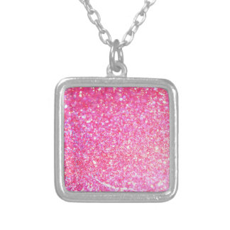 Colar Banhado A Prata Estilo cor-de-rosa do diamante
