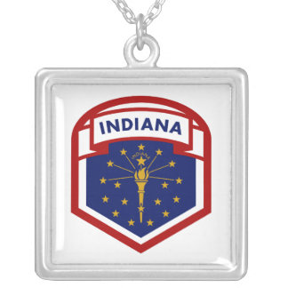 Colar Banhado A Prata Estilo da brasão da bandeira do estado de Indiana