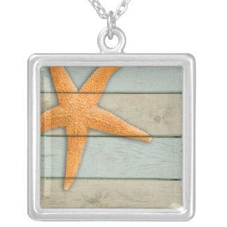 Colar Banhado A Prata Estrela do mar alaranjada