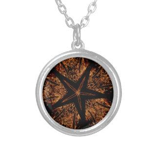 Colar Banhado A Prata Estrela Kaleidoscopic escura elegante de Brown do