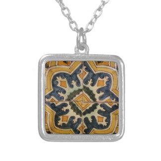 Colar Banhado A Prata Estrela turca do amarelo do azulejo do vintage do