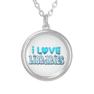 Colar Banhado A Prata Eu amo bibliotecas