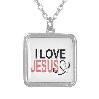 Colar Banhado A Prata Eu amo Jesus