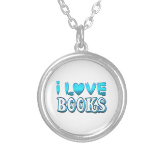 Colar Banhado A Prata Eu amo livros