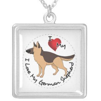 Colar Banhado A Prata Eu amo meu cão de german shepherd