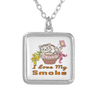 Colar Banhado A Prata Eu amo meu fumo