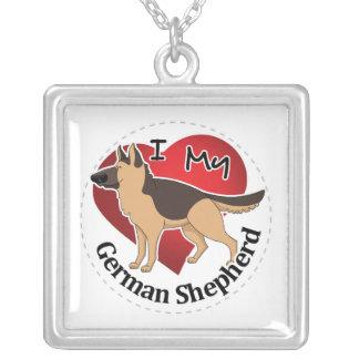 Colar Banhado A Prata Eu amo meu german shepherd engraçado & bonito