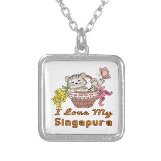 Colar Banhado A Prata Eu amo meu Singapura