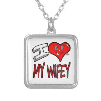 Colar Banhado A Prata Eu amo meu Wifey
