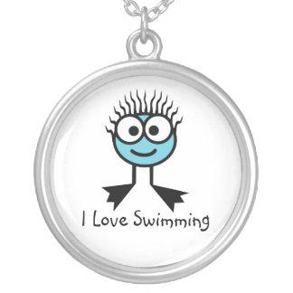 Colar Banhado A Prata Eu amo nadar - caráter azul pálido Necklac da