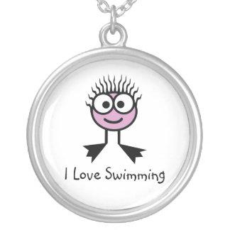 Colar Banhado A Prata Eu amo nadar - caráter rosa pálido da natação
