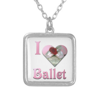 Colar Banhado A Prata Eu amo o balé com rosa vermelha