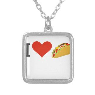 Colar Banhado A Prata Eu amo o Tacos para amantes do Taco