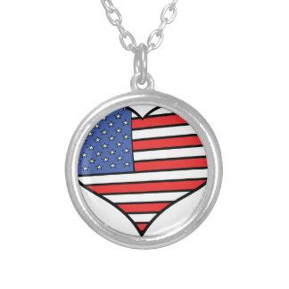 Colar Banhado A Prata Eu amo orgulho de América - os Estados Unidos da