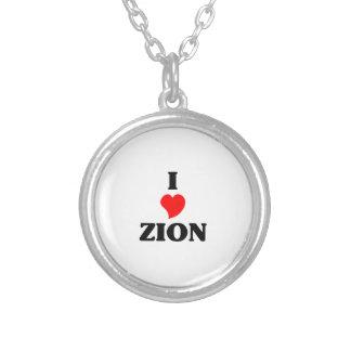 Colar Banhado A Prata Eu amo Zion