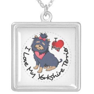 Colar Banhado A Prata Eu-Amor-Meu-Yorkshire-Terrier