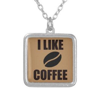 Colar Banhado A Prata Eu gosto do café