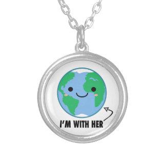 Colar Banhado A Prata Eu sou com ela - Dia da Terra do planeta