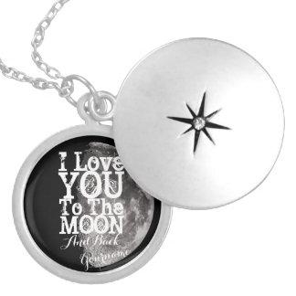 Colar Banhado A Prata Eu te amo à lua e à parte traseira com seu nome
