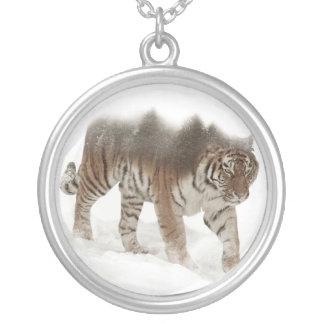 Colar Banhado A Prata Exposição-animais selvagens tigre-Tigre-dobro
