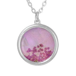Colar Banhado A Prata Exposição dobro cor-de-rosa