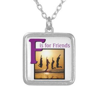 Colar Banhado A Prata F para amigos
