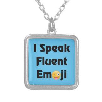 Colar Banhado A Prata Fale Emoji fluente