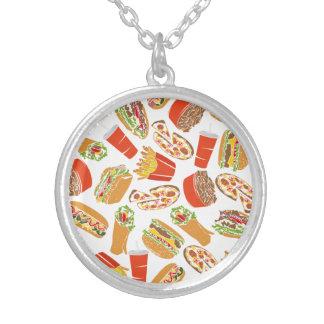 Colar Banhado A Prata Fast food colorido da ilustração do teste padrão