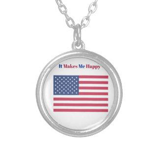Colar Banhado A Prata Faz-me a bandeira americana feliz