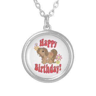 Colar Banhado A Prata Feliz aniversario 4