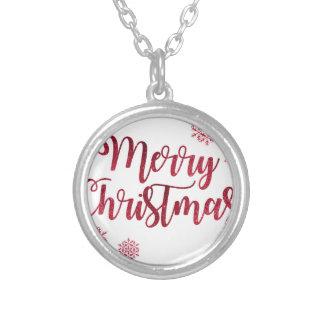 Colar Banhado A Prata Feliz Natal vermelho do brilho da faísca