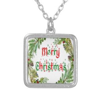 Colar Banhado A Prata Feliz Natal vermelho & verde