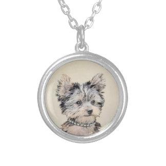 Colar Banhado A Prata Filhote de cachorro do yorkshire terrier que pinta