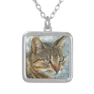 Colar Banhado A Prata Fim impressionante do gato de gato malhado acima
