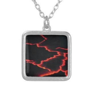 Colar Banhado A Prata fios da lava