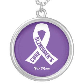 Colar Banhado A Prata Fita de Alzheimers da cura no roxo