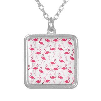 Colar Banhado A Prata Flamingo