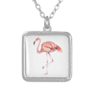 Colar Banhado A Prata Flamingo cor-de-rosa