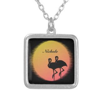 Colar Banhado A Prata Flamingos do por do sol personalizados