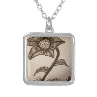 Colar Banhado A Prata flor coberta #1.
