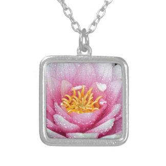 Colar Banhado A Prata Flor cor-de-rosa do lírio de água