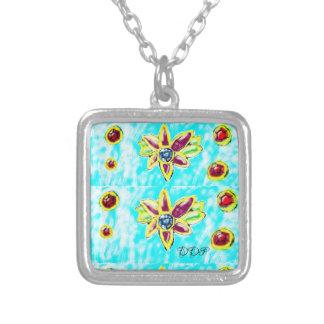 Colar Banhado A Prata Flor da jóia