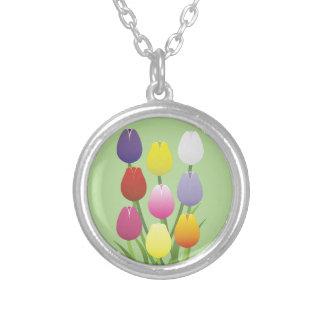 Colar Banhado A Prata Flor da tulipa